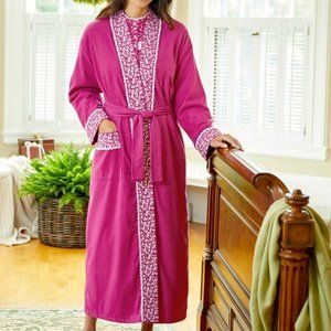 NWT Eileen West Forget-Me-Not Flannel Robe S